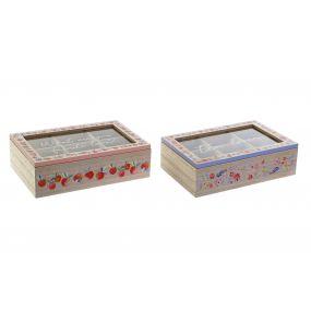 TEA BOX MDF GLASS 23X15X7 2 MOD.