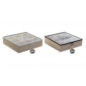 TEA BOX MDF GLASS 24X24X7 MONTANA 2 MOD.