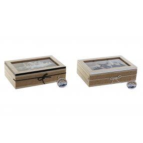 TEA BOX MDF GLASS 23X15X7 MONTANA 2 MOD.