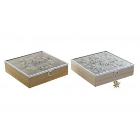 TEA BOX MDF GLASS 24X24X7 MAGNOLIA 2 MOD.