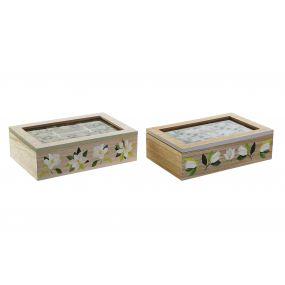 TEA BOX MDF GLASS 23X15X7 MAGNOLIA 2 MOD.