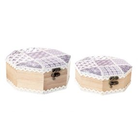 BOX SET 2 WOOD POLYESTER 20X20X8 TILES LILAC