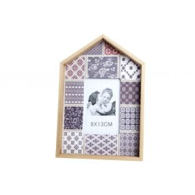 PHOTO FRAME WOOD POLYESTER 9X13 TILES LILAC