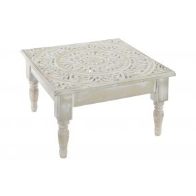 AUXILIARY TABLE WOOD 45X45X26 ETHNIC AGED WHITE