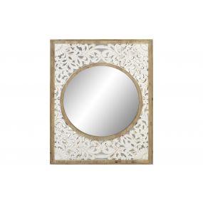 MIRROR WOOD GLASS 82X3X106 MANDALA NATURAL WHITE