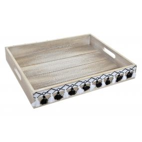 TRAY WOOD POLYESTER 40X30X6 IKAT NATURAL WHITE