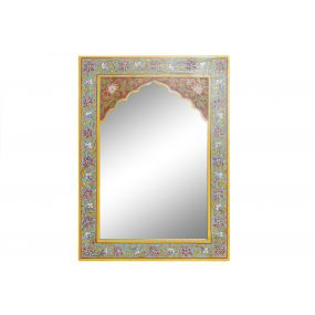 MIRROR MDF 40,5X1,5X56 FLORAL HAND PAINTED RED