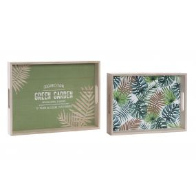 TRAY SET 2 MDF 40X30X5 LEAVES GREEN