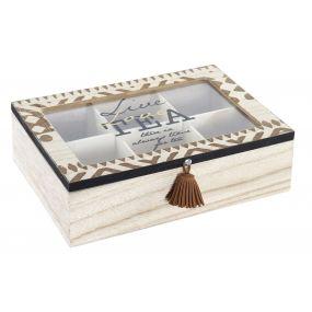 TEA BOX SPRUCE GLASS 24X16,5X7 LEAVES BLACK