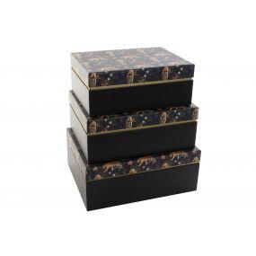 BOX SET 3 PAPERBOARD 28X22X11,5 JUNGLE BLUE