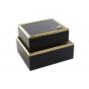 BOX SET 2 MDF METAL 25X20X9 BEE BLACK