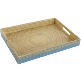 TRAY BAMBOO 40X30X5 LACQUERED BLUE