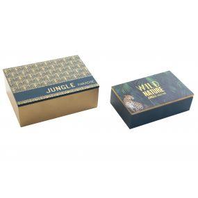 BOX SET 2 MDF 17X6X12 WILD NATURE GREEN