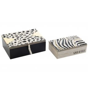 CAJA SET 2 MDF 17X6X12 ANIMAL GRABADO NEGRO