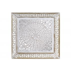 WALL DECORATION MANGO MDF 60X7,5X60 CARVED WHITE