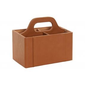 REMOTRE CONTROL HOLDER PU MDF 18X10X15 BROWN
