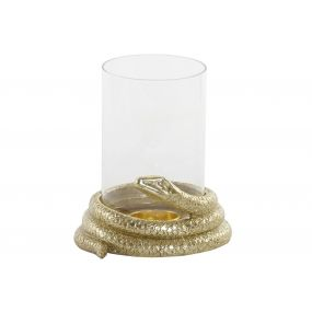 CANDLE HOLDER GLASS RESIN 15X13X16 SNAKE GOLDEN