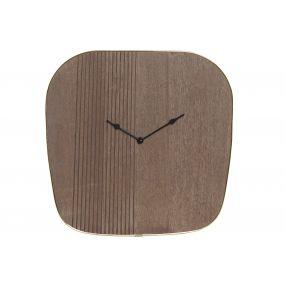 WALL CLOCK WOOD METAL 39X3,5X38 BROWN