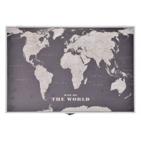 COUNTER COVER WOOD 46X6X32 WORLD MAP BLACK