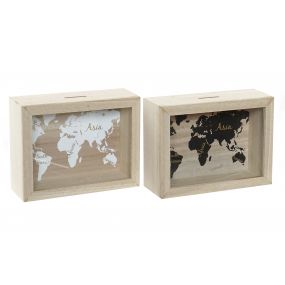 MONEY BOX MDF GLASS 20X6,5X15 WORLD MAP 2 MOD.