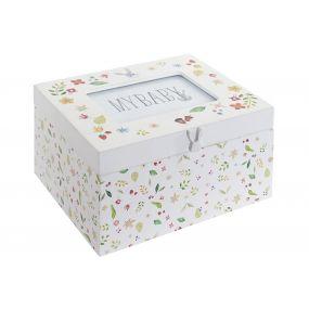 PHOTO BOX WOOD GLASS 20X16X11 LITTLE RABBIT WHITE