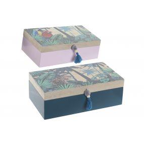 BOX SET 2 WOOD 30X17X10 JUNGLE GREEN