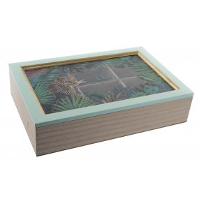 TEA BOX WOOD GLASS 30X20X7 JUNGLE MINT GREEN