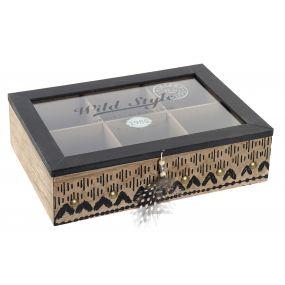 TEA BOX MDF GLASS 24X17X6,5 CENEFA
