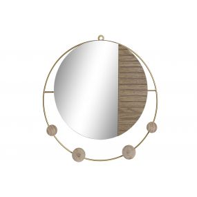 MIRROR METAL GLASS 39,5X3X39,5 COAT RACK NATURAL