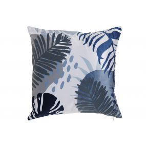 CUSHION POLYESTER 45X45X45 472GR. LEAVES NAVY BLUE