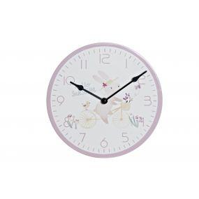 CLOCK MDF PVC 24X3,5X24 RABBIT PINK