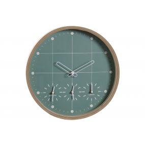 WALL CLOCK MDF 34X34X5 NATURAL