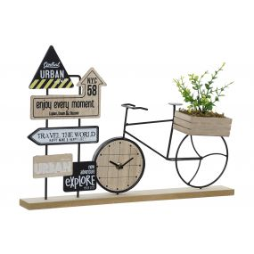 TABLE CLOCK MDF 43,5X9X28 BICYCLE NATURAL