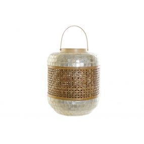 CANDLE HOLDER BAMBOO NACRE 30X30X37 HANDLE 55CM
