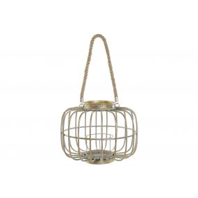 CANDLE HOLDER METAL GLASS 30,5X30,5X24 AGED GOLDEN
