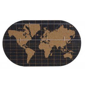 WALL DECORATION MDF 55X1,5X32,5 WORLD MAP BLACK
