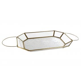 TRAY METAL GLASS 27X19X3 WINGS GOLDEN