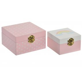 BOX SET 2 MDF METAL 12X12X7 FANTASY