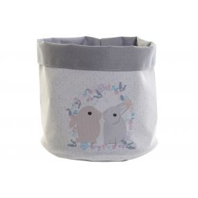 BASKET POLYESTER COTTON 19X19X22 RABBITS