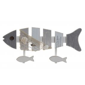 WALL CLOTHES RACK MDF METAL 38X6X18 FISHES GREY