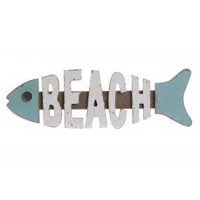 WALL DECORATION WOOD MDF 51,5X3X16 FISH BLUE