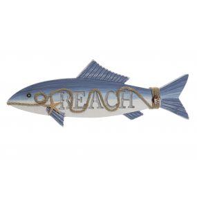 WALL DECORATION LED WOOD 49X5X17,5 FISH BLUE