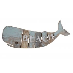 WALL DECORATION WOOD 78X3X30 WHALE AGED BLUE