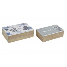 BOX SET 2 MDF 20X13X6 BLUE