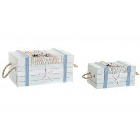 BOX SET 2 WOOD COTTON 30X14,5X12 WHITE