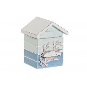 BOX MDF WOOD 8X7,5X10,5 BLUE