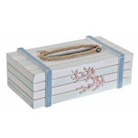 TISSUE BOX WOOD ROPE 25X14X8 WHITE