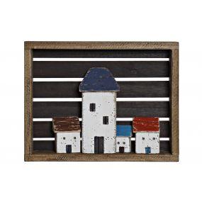 WALL DECORATION PAULOWNIA 44,3X7,5X34,5 HOUSES