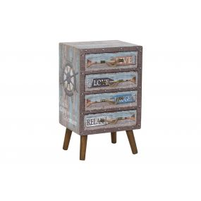 DRAWER CANVAS WOOD 40X30X65 BOUQUETS BLUE