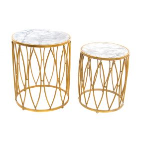 AUXILIARY TABLE SET 2 METAL MARBLE 50X50X62 GOLDEN